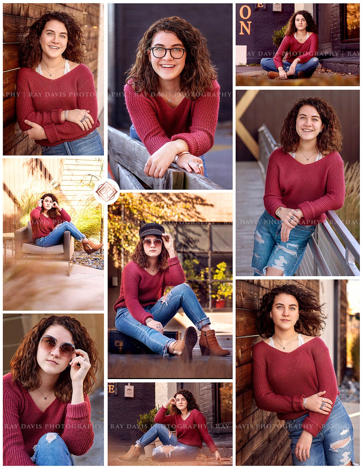 Louisville Nulu senior pictures in fall of girl wearing red sweater by Ray Davis Photography