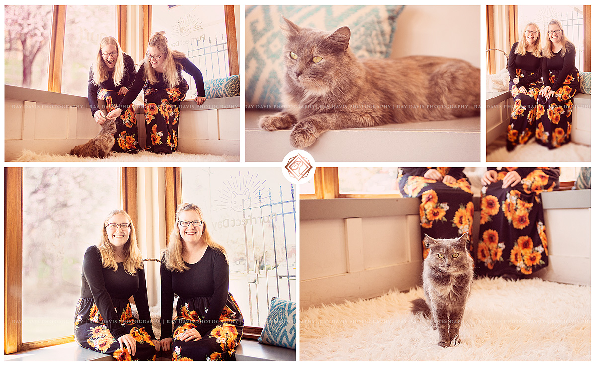 Purfect Cat Cafe interior with twin women for Birthday in Louisville
