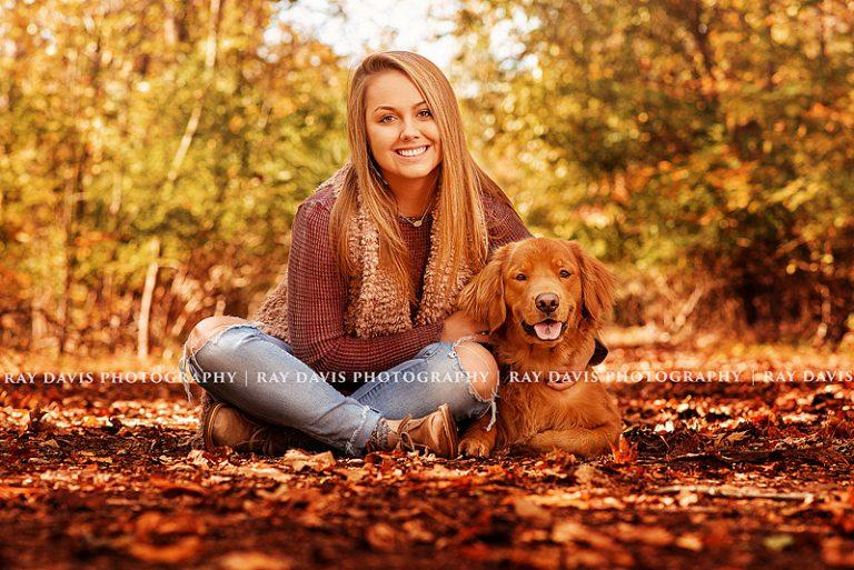 Senior girl with dog by Louisville Senior Photographer Ray Davis Photography