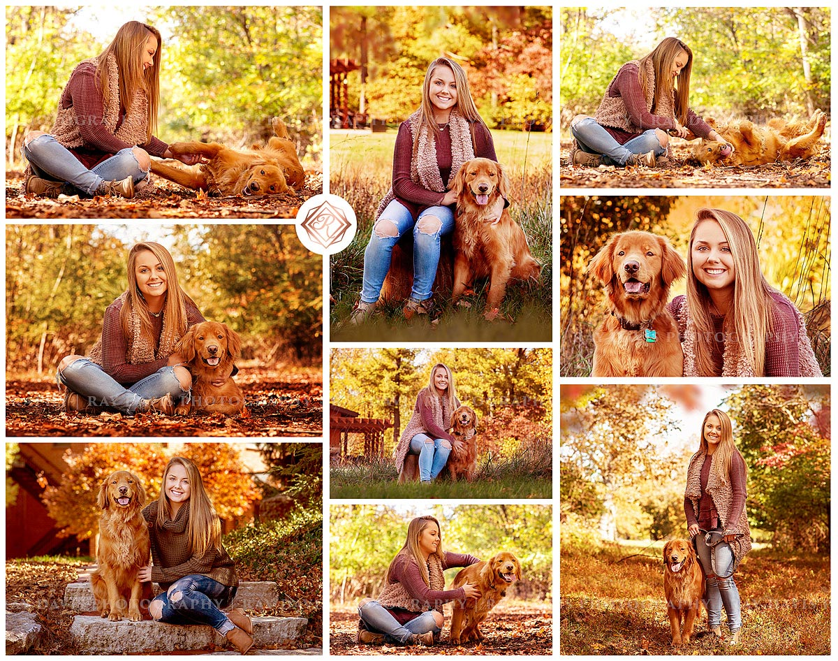 Senior girl with golden retriever dog pictures by Louisville Photographer Ray Davis