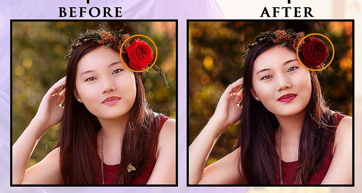 Before and After edit of rose in senior's hair for final portraits