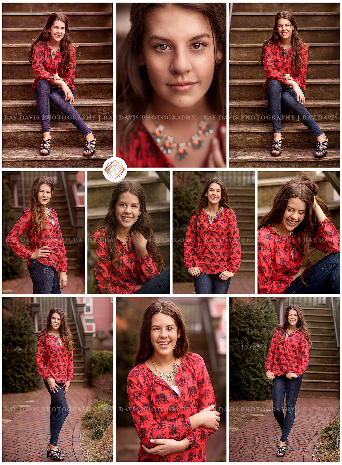 Middle School grad girl poses in red shirt along Anchorage Trail for Louisville Family Photographer