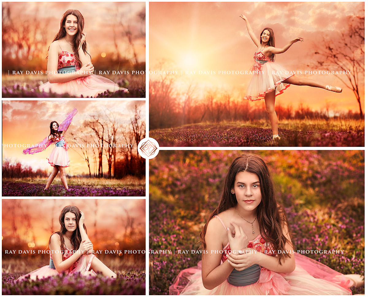 Louisville Ballerina ballet girl in clover field at sunset by Ray Davis Photography
