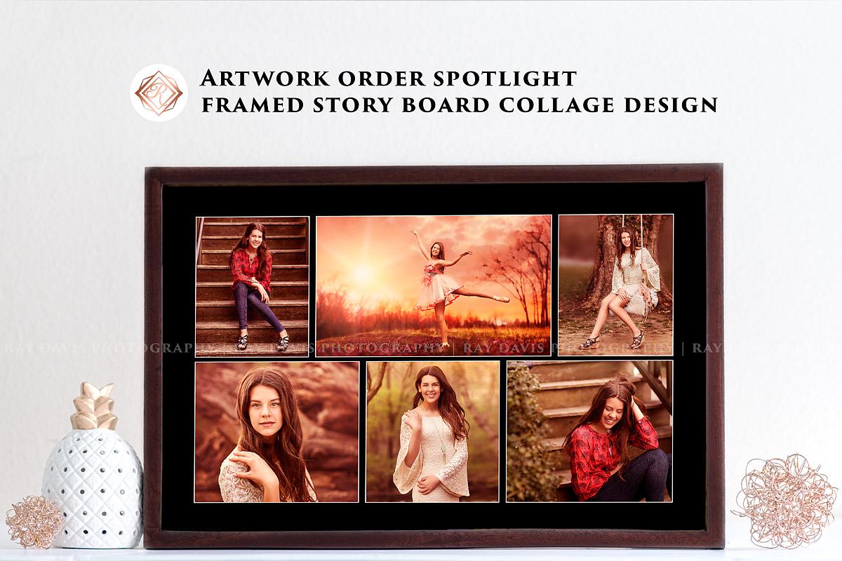 Framed wall art collage of 8th grade grad teen photographer Ray Davis