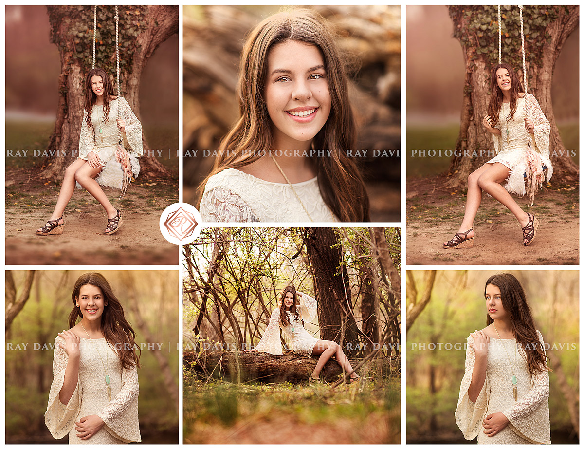 8th grade grad teen girl sits on swing in Anchorage Trail for portraits created by Louisville Ray Davis Photography