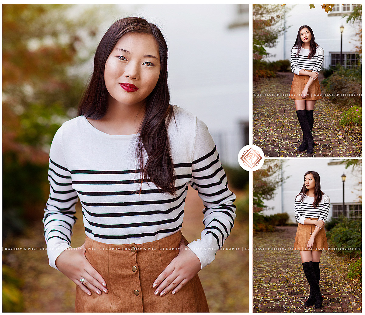 Senior girl wearing suede skirt for photos in Versailles KY